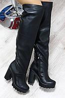 Зимние натуральные кожаные сапоги-ботфорты на удобном каблуке черные