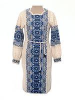 Вязаное женское платье с синим узором