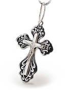 Крест серебро с эмалью черной