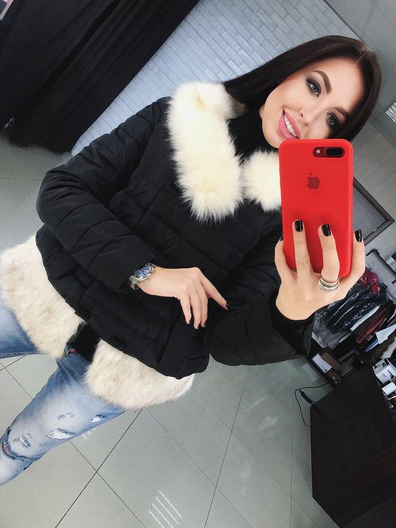 Модная женская куртка осенняя с мехом