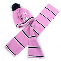 Шапка+шарф для девочки, на флисе