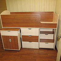 Кровать-чердак Школьник Орех+Дуб молочный