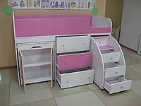 Кровать-чердак Школьник розовый + белый