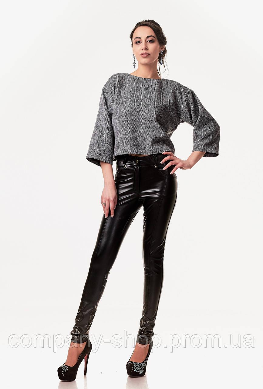 Леггинсы-брюки кожаные с карманами. Модель L061_кожа черный.
