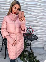 Красивое теплое пальто рукав вязанный на синтепоне