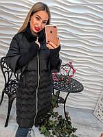 Красивое теплое пальто рукав вязанный на синтепоне только черное