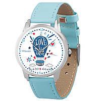 Женские голубые часы с интересным рисунком
