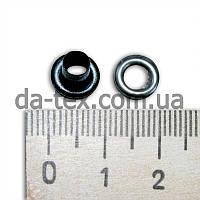4 мм Люверс эмаль чёрный {4.0x7.2x3.5, металл с шайбой-подставкой}