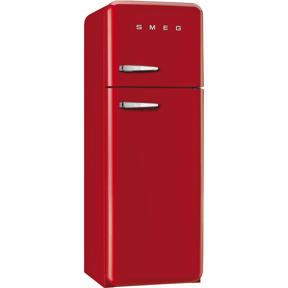 Отдельностоящий двухдверный холодильник, стиль 50-х годов Smeg FAB30RRD3 красный