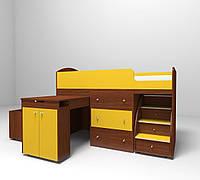 Кровать-чердак Школьник Желтый + орех