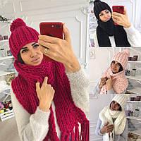 КОМПЛЕКТ ШАПКА + ШАРФ Ткань : трикотаж ( крупная машинная вязка )черный ,малиновый,розовый,белый.мдав№8813