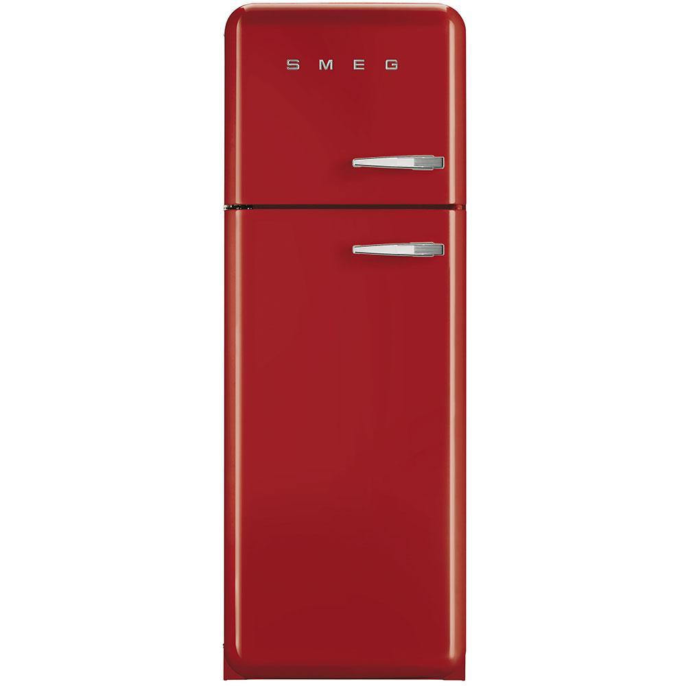 Отдельностоящий двухдверный холодильник, стиль 50-х годов Smeg FAB30LRD3 красный