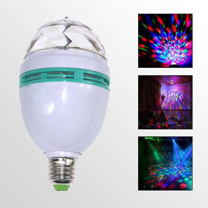 Разноцветная светодиодная лампочка RGB на 3W E27 для праздничного освещения (дискотеки, вечеринки, бары), фото 2