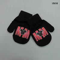 Варежки Mickey Mouse черные для малыша, до 3-х лет