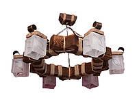 Люстра из дерева подвесная на цепях с шестью натуральными стеклянными плафонами