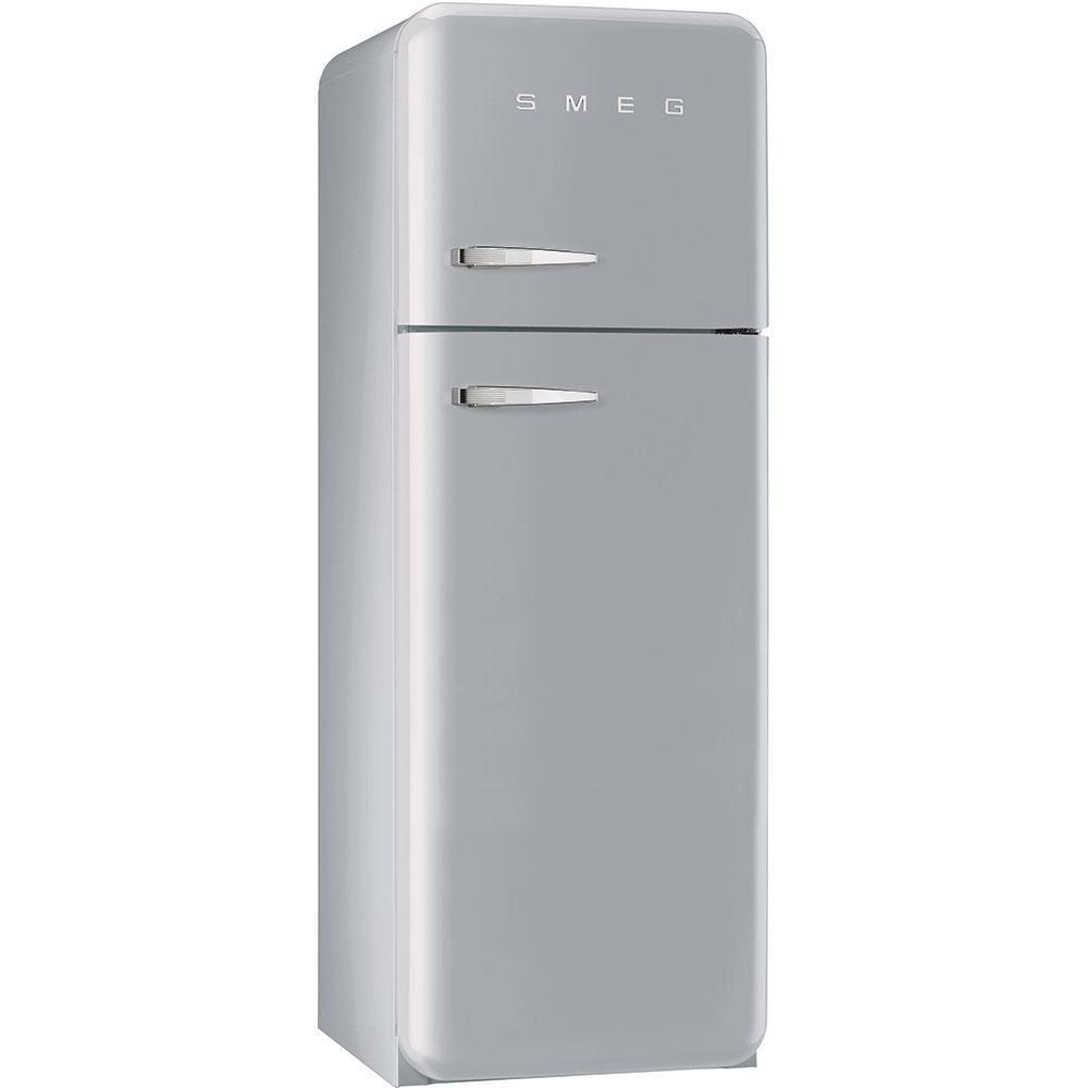 Отдельностоящий двухдверный холодильник, стиль 50-х годов Smeg FAB30RSV3 серебристый