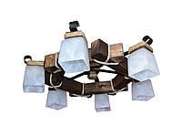 Люстра из дерева потолочная с шестью стеклянными матовыми плафонами