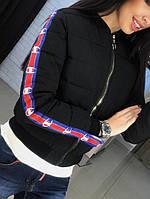 Куртка черная плащевка декорирована лампасами