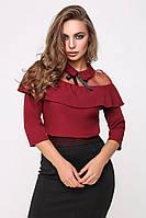 Блуза 1893, шелковая блузка, блузка черная, блузка марсала
