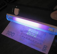 Детектор-сканер для проверки купюр гривень и долларов, портативный батарейки меняются MD-01