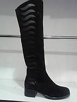 Сапоги замшевые высокие женские зимние на низком каблуке.р.36-41.