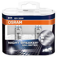 Автолампа Osram Night Breaker Unlimited H1 55 Вт 2 шт N40716452