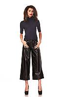 Кожаные женские брюки-кюлоты черные