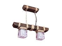 """Люстра из дерева подвесная на цепях  """"Подвес"""" с двумя стеклянными эксклюзивными плафонами"""