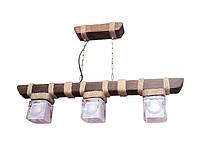 """Люстра из дерева подвесная на цепях """"Подвес"""" с тремя стеклянными эксклюзивными плафонами"""