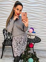 Женская красивая туника с дорогим кружевом серый, розовый