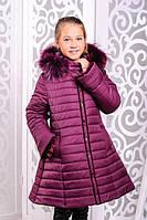 Модная удлиненная зимняя детская куртка с бантом на спинке