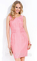Летнее женское платье розового цвета из льняной ткани. Модель Lina Zaps.
