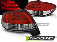 Фонари задние тюнинг оптика стопы Peugeot 206 красно-белые