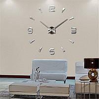 3D часы, настенные, большие, Серебристо-зеркального цвета, Акриловые зеркальные наклейки