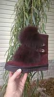 Женские зимние ботинки из натуральной кожи и замши с опушкой из песца р.36-41