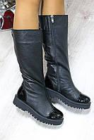 Женские кожаные зимние сапоги