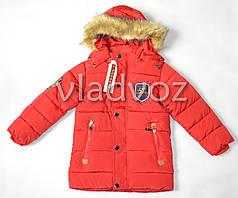 Теплая евро зима куртка для мальчика красная 4-5 лет