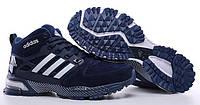 Мужские зимние кроссовки с мехом Adidas Winterboots High (зимние Адидас) синие