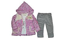 Тёплый костюм для девочки кофта+батник+штанишки