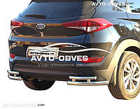 Защита заднего бампера для Hyundai Tucson 2015-2017 углы двойные (п.к. АК3)