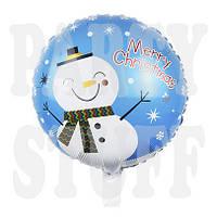 Фольгированный новогодний шар Снеговик, 44 см