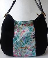 Женская сумка из натурального замша с цветной вставкой из натуральной кожи