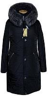 Женское, модное,теплое зимнее полу пальто, с мехом больших размеров р-54,56,58,60,62,64,66,68,70 цвет черный
