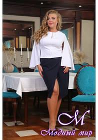 Женская юбка с разрезом батал (р. 48-90) арт. Алина