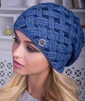 "Женская шапка крупной вязки на флисе зима ""Лайма"""