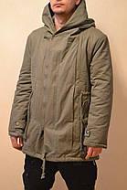 Стильная зимняя мужская парка пальто с капюшоном, фото 2
