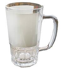 Стеклянный пивной бокал с белой полосой для запечатки 80*195 мм