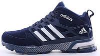 Мужские зимние кроссовки с мехом Adidas Winter High зимние Адидас на меху синие