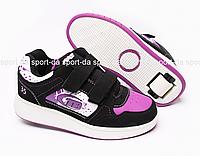 Кроссовки с роликом (heelys, хилисы) - Black Purle (на липучках)
