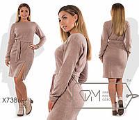 Платье большого размера из ангоры с разрезом 201386